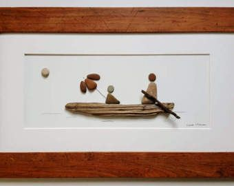 """Playa del guijarro de arte - """"Romance de la orilla del lago"""" - OOAK - lago Michigan - gratis envío dentro de los continentales nos"""