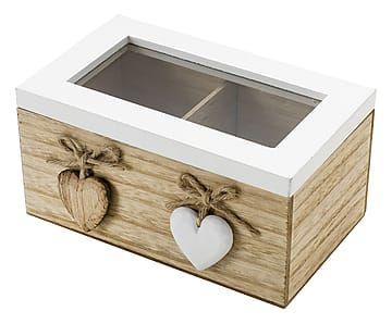 Caja de madera Corazones, 2 compartimentos - 17x10 cm