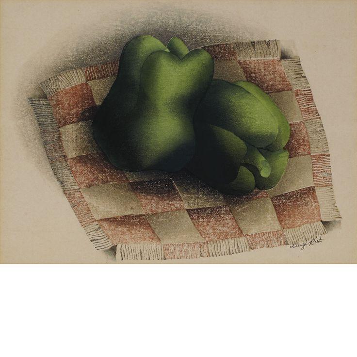 Luigi Rist PEPERONI Color woodcut, 1951