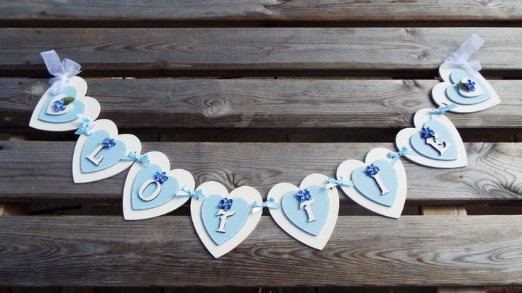PERSONALISED WOODEN BUNTING - heart-shaped. Laser-cut and hand-crafted. Colours can be customised to match your decor. by KatijanesCreations on Etsy
