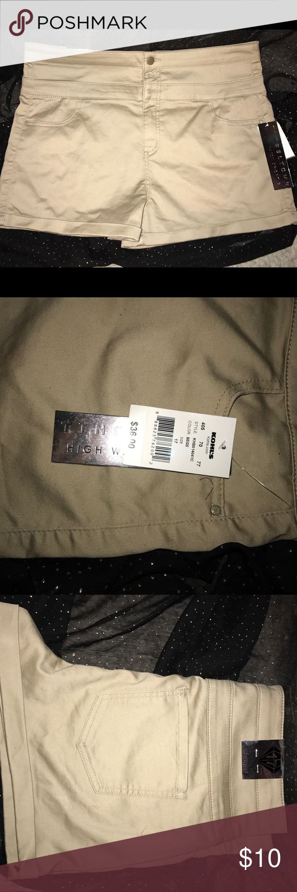 High Waisted Khaki Shorts NWT, size 17 juniors with lots of stretch, would fit women's size 14-18. Torrid for exposure, this brand is sold at charlotte ruse and Kohls torrid Shorts Jean Shorts