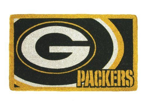 "Green Bay Packers Coir Fiber Team Logo Welcome Floor Mat by TSA. $34.99. Officially licensed. 18"" x 30"". Green Bay Packers Welcome Mat. Welcome your friends and neighbors with your favorite team. This heavy duty welcome mat is ideal for outdoor use and will last a long time. It's made of extremely durable coir fiber (Coconut Husks) and features the colors and logo of your favorite NFL football team.  Measures 18"" x 30""."