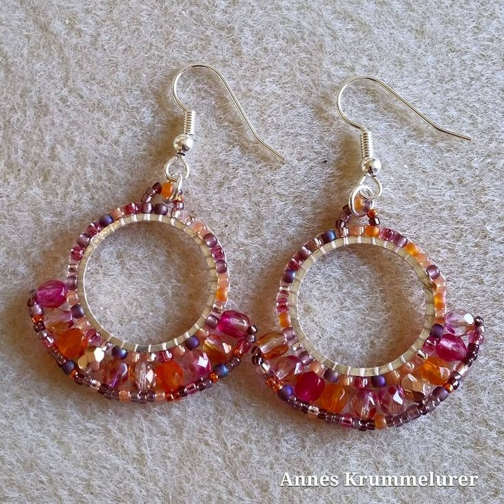 Handmade Beaded Fan Dangle Earring. Gypsy, flamenco, hippie, boho style earrings. rose, pink, orange mix colours. Made in Denmark. by AnnesKrummelurer on Etsy