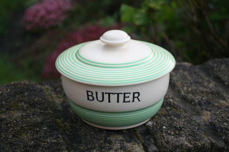 Vintage TG Green Streamline – Green Banded Butter Dish – Great! –