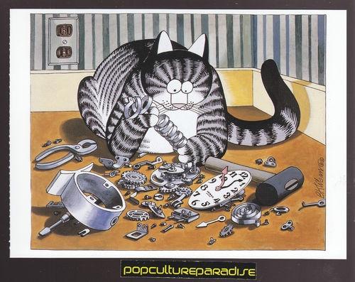 B KLIBAN Bernard CATS ART POSTCARD Kitty Repairing Clock