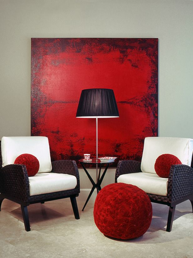 RED MODERN ART with round red accent ball pillows
