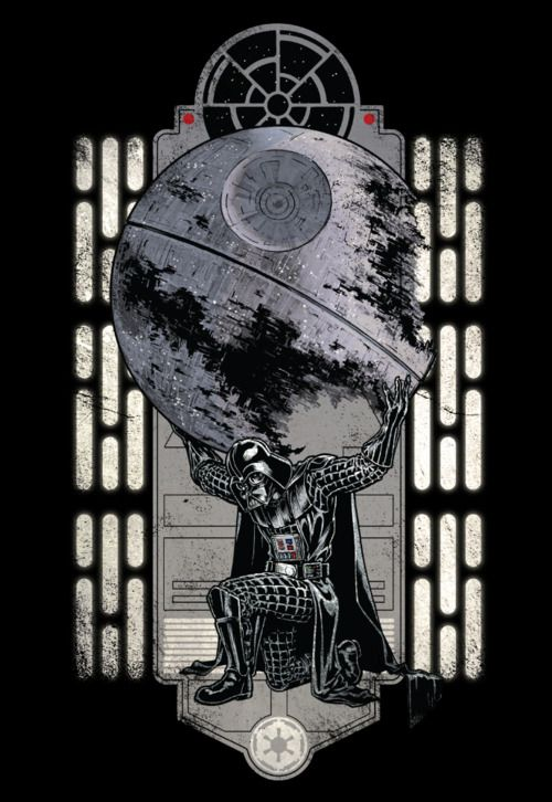 The weight of the entire Empire lies on the shoulders of the feared / awesome Darth Vader. Chris Kawagiwas killer Atlas / Star Wars shirt design is now on sale now at WeLoveFine for $25. Related Rampages: Steam Punk (More) Darth Atlas by Chris Kawagiwa (deviantART) (Facebook) (Twitter)