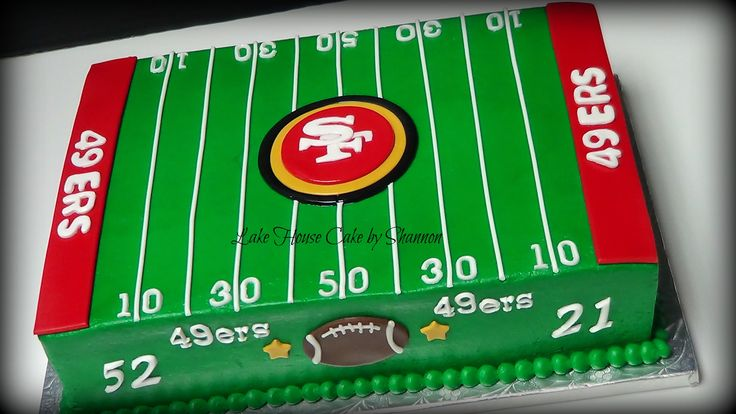 Red Velvet Cream Cheese Buttercream San Francisco 49ers Forty-Niners Football Field Yard Lines Logo Lake House Cake by Shannon Gay