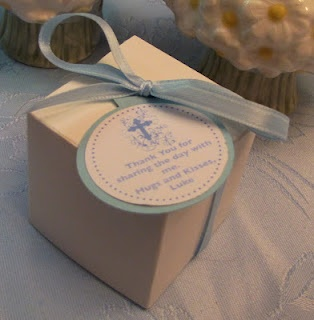 Christening Favors - inside the box   Hershey's Hugs and Kisses