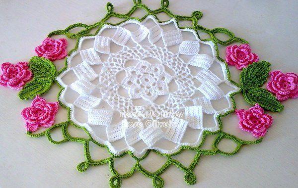 Centro de Mesa Primavera Flores Rosa | Crochet and Pin Cushion ...