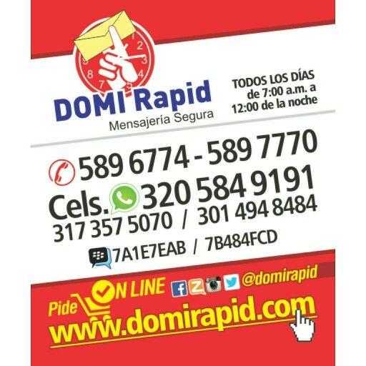 Te ofrecemos nuestro servicio Domirapid Mensajería Segura  Somos la #1 de Valledupar.  COMPRAS, PAGOS, CONSIGNACIONES y ENVIOS HORARIO: TODOS LOS DIAS 7AM - 12NOCHE  3205849191 (Whatsapp)  3173575070  3014948484  0355896774  0355897770 PIN. 7A1E7EAB PIN. 7B484FCD Zello: DOMI Rapid  Twitter:@domirapid  Instagram: @domirapid Facebook: Domirapid Mensajería Segura VALLEDUPAR PEDIDOS ON LINE  www.domirapid.com