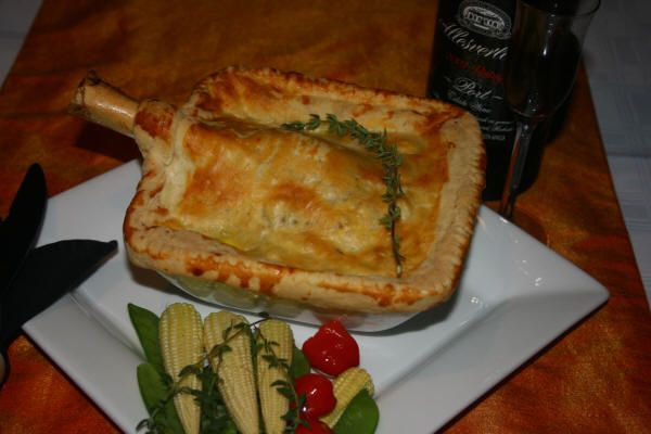 Springbuck Shank Pie with Red Wine and thyme