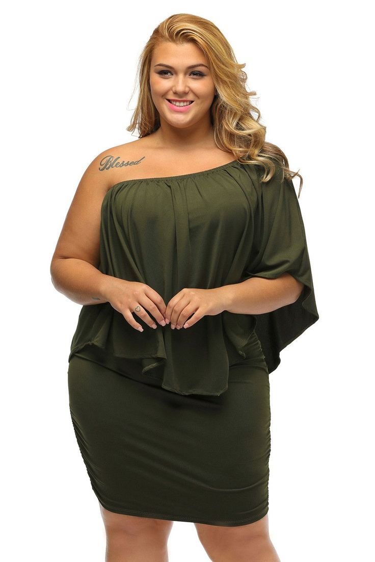 Chicloth Plus Size Multiple Dressing Layered Army Green Mini Dress