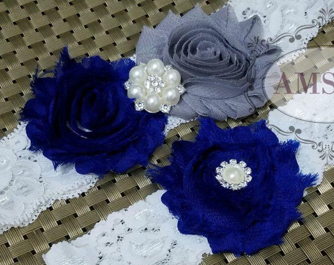 Liga AZUL Royal y GRIS, Conjunto de Ligas, Liguero Azul Royal y Gris, Boda Azul plata y Blanco, Boda Blanca y Azul, Liga Boda Azul Pavo Real