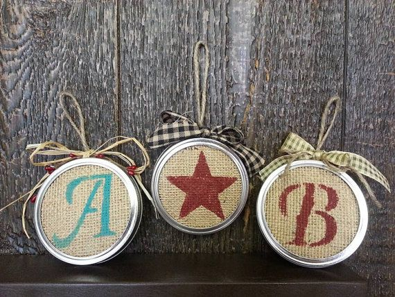 Personalized burlap mason jar lid Christmas tree ornament on Etsy, $5.00