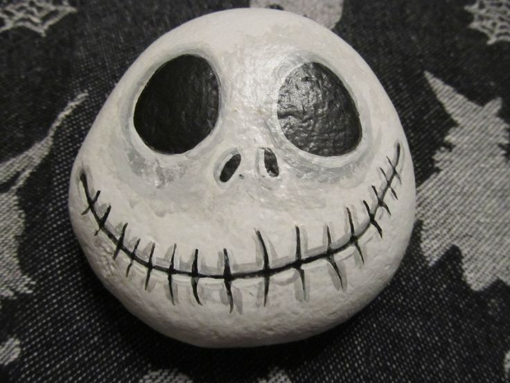 OOAK Handpainted Gothic Halloween Jack Skellington Rock