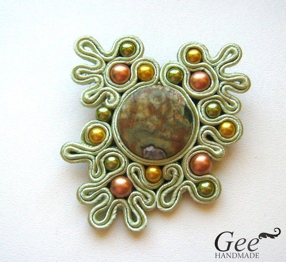 A very nice and dreamy soutache brooch in soft green-yellow-light brown colours.    Size: 8x6 cm.    Free shipping