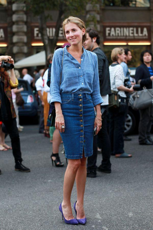 25  best ideas about Jean pencil skirt on Pinterest   Denim shirt ...