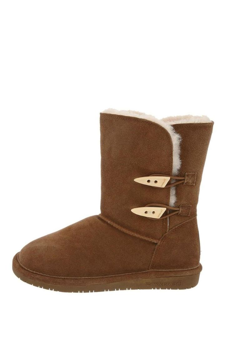 """You can tuck your pants in easily in these side opening classics and enjoy a carefree day wearing these fabulously comfortable boots. Two toggle buttons open on the outside of the ankle. Rubber outsole. Heel logo. Half sizes should size down.    Measures: 8"""" shaft height   Abigail Boot by Bearpaw. Shoes - Boots - Rain and Cold Weather California"""