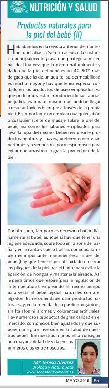 Columna sobre la piel del bebé y la idoneidad de emplear productos naturales para su cuidado en la revista La Publi de la Axarquía - segunda parte