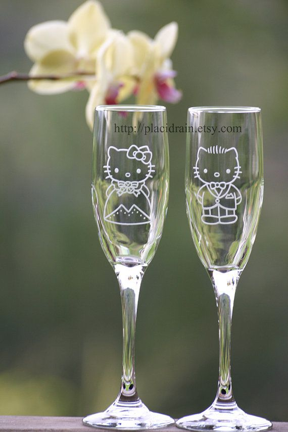 @Jennifer Tapken  so sad that they didn't have these for your wedding!  Hello Kitty and Dear Daniel Champagne Fanart glass by Placidrain, $50.00