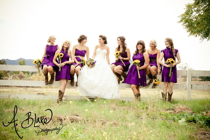 Purple and yellow. Ranch Wedding. Cowboy boots with bridesmaids dress. Ashley Blake. A. Blake Photography