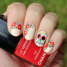 Best 25 sugar skull nails ideas on pinterest skull nail designs today i have a sort of halloweenday of the dead mani for you prinsesfo Gallery
