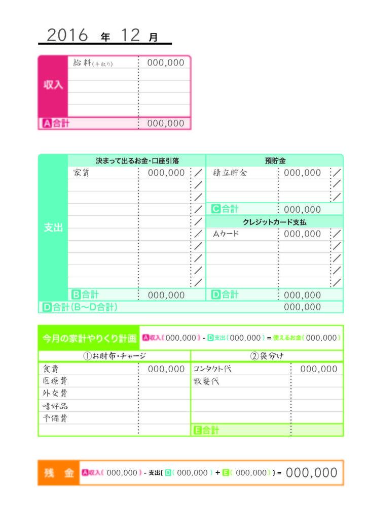 A4ルーズリーフ家計簿 Ver 1 の印刷用データを作りました 家計簿