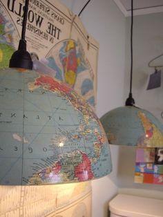 tischlampen selber machen - globus teile verwenden - Lampe selber machen – 30 einmalige Ideen