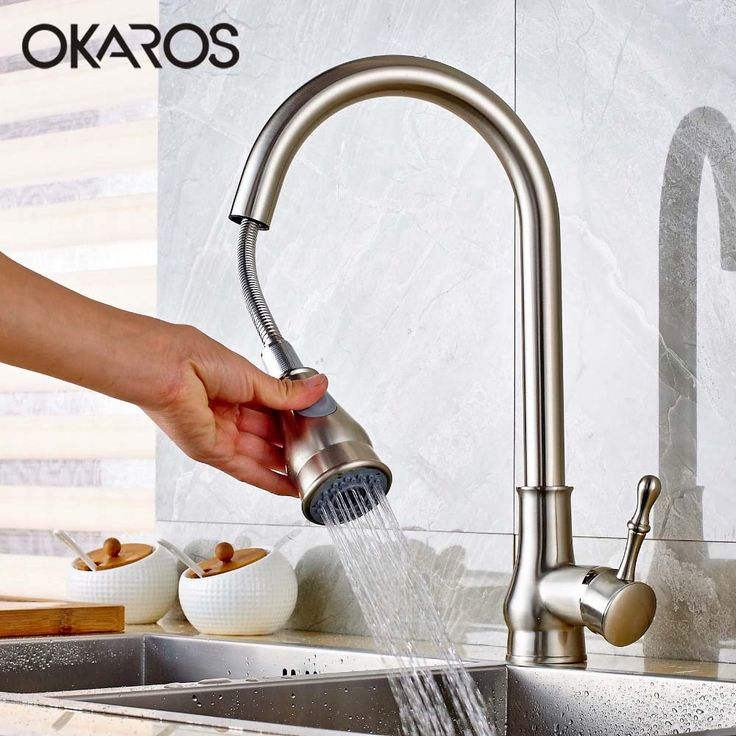 OKAROS Kitchen Sink Faucet Pull Down Up Nickle Brush Chrome Finish Double  Sprayer 360 Degree Rotation Vessel Hot Cold Water Tap Kitchen Table **  AliExpress ...