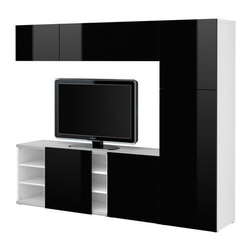 BESTÅ TV/storage combination - white/high-gloss black, 240x192 cm - IKEA