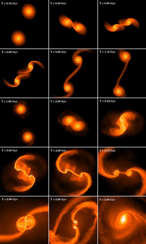 Cuando las galaxias colisionan: ¿Cómo nacieron los agujeros negros supermasivos Primera - Dos agujeros negros se fusionan para convertirse en un agujero negro supermasivo. Se cree que el primer agujero negro supermasivo fue creado hace 13 millones de años, 1 mil millones de años después del Big Bang. Crédito de la imagen: Ohio State University-- Imágenes .....