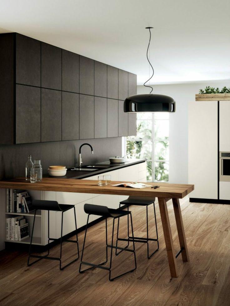 îlot de cuisine design moderne et déco naturelle d'intérieur en noir et bois