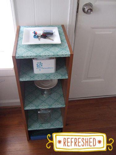 DIY Wallpaper-refresh on entryway shelf.