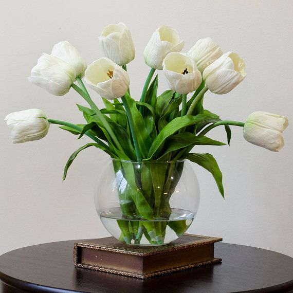 Real Touch Tulip Arrangement with White Tulip Flowers by flovery