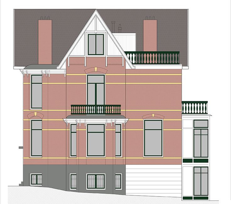 De zijgevel van het pand het dakterras komt op het platte dak aan de achterzijde van de woning - Deco moderne woning ...