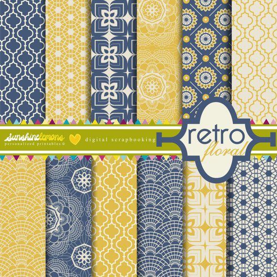 Retro Floral Digital Scrapbooking Paper Set by SunshineLemons, $4.50
