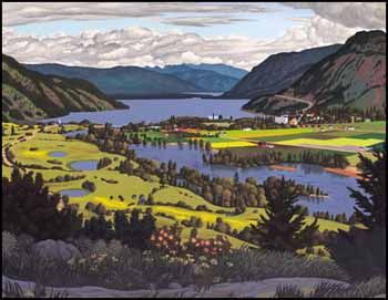 Edward John (E.J.) Hughes BCSFA CGP OC RCA 1913 - 2007 Canadian South Thompson Valley at Chase, BC oil on canvas signed and on verso signed, titled and dated 1957 E