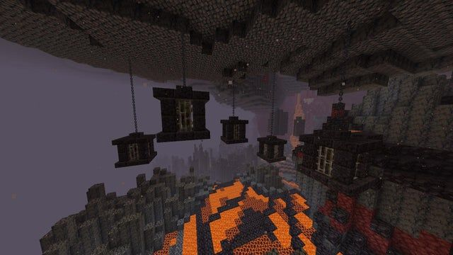 Chains And Blackstone Can Make Some Cool Cages Minecraft In 2020 Minecraft Houses Minecraft Blueprints Minecraft