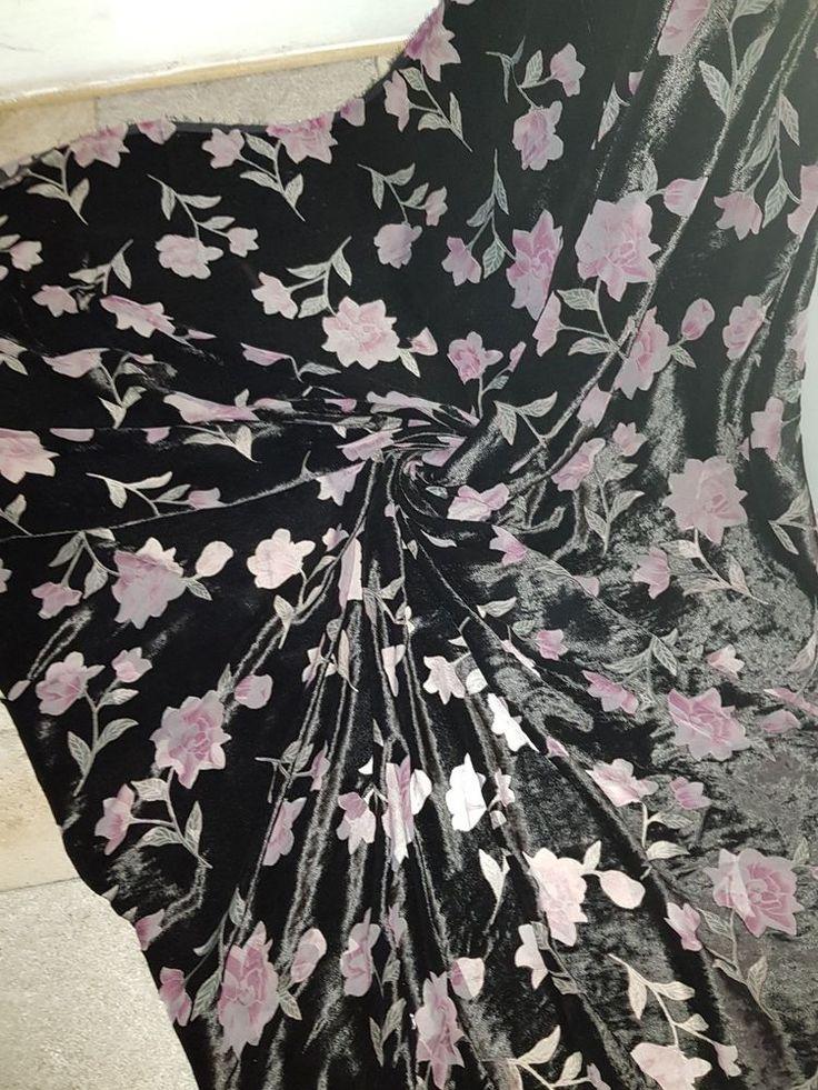 black floral BURNOUT VELVET