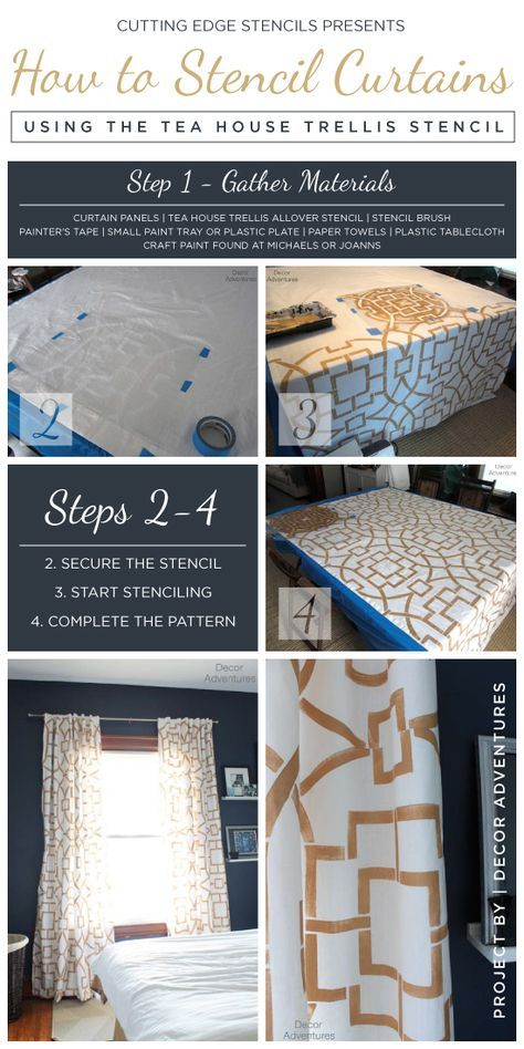Stencil Tutorial: how to create DIY stenciled curtains using the Teal House Trellis pattern. http://www.cuttingedgestencils.com/tea-house-trellis-allover-stencil-pattern.html  #howtostencil #curtains #cuttingedgestencils