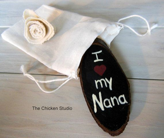 I heart my Nana Gift for Nana Nana Wood Magnet by TheChickenStudio