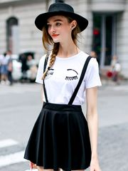 high waist suspender pantskirt: