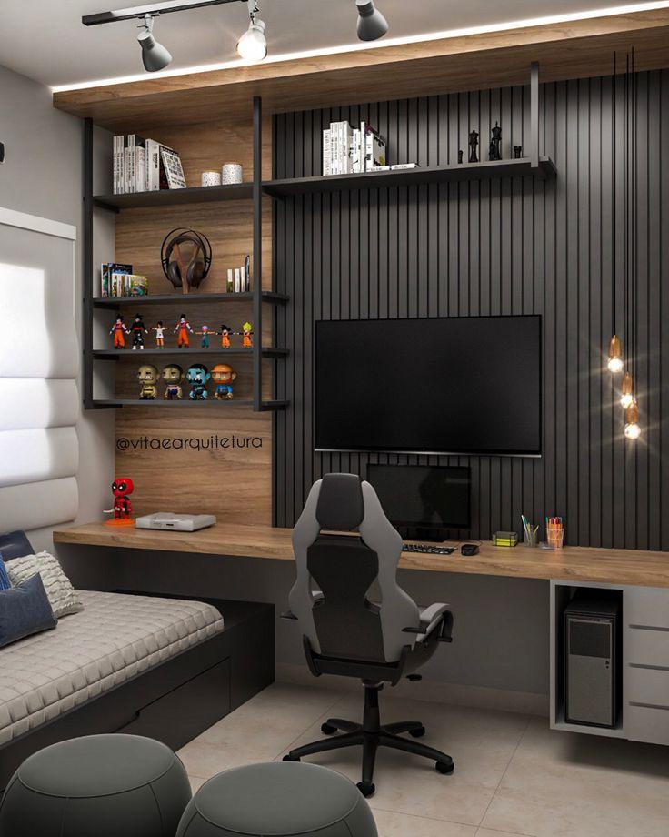 Modern Home Office Desk, Home Office Setup, Home Office Space, Office Interior Design, Office Interiors, Small Home Offices, Bedroom Setup, Game Room Design, Gamer Room