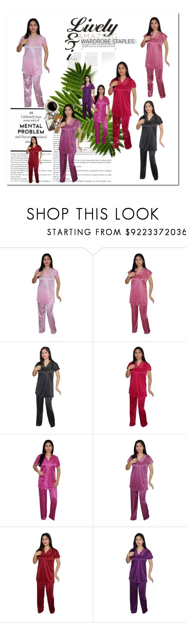 """SATIN PYJAMA SET"" by globaltrendzs-flipkart ❤ liked on Polyvore featuring Womens, nightsuit, indiatrendzs and pyjamset"