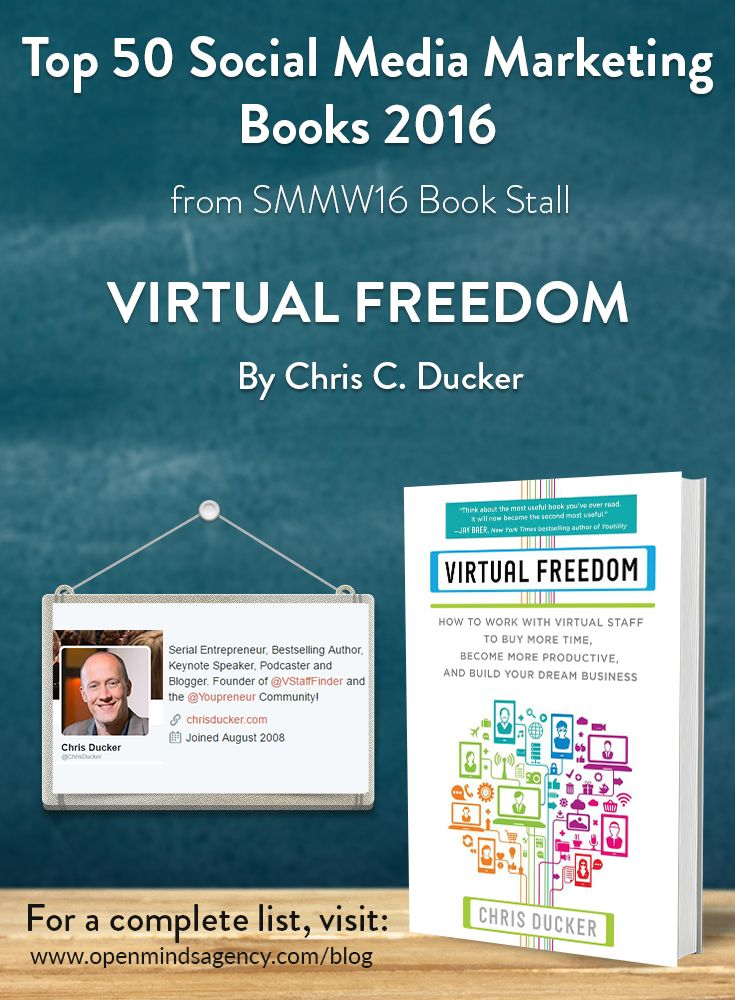 Top 50 Social Media Marketing Books 2016 - from SMMW16 Book Stall  Virtual Freedom - Chris Ducker   For the complete list visit [Click on image]   #omagency #smmw16 #books #chrisducker