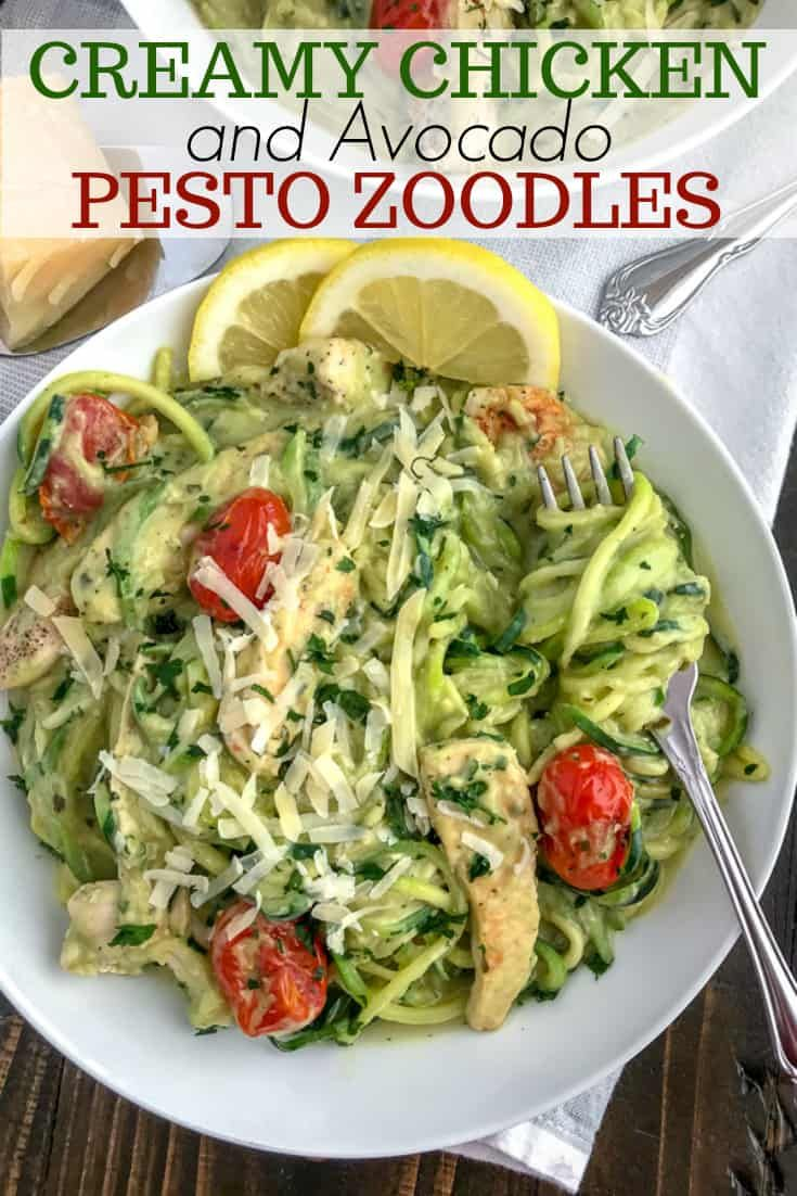 Creamy Chicken And Avocado Pesto Zoodles Recipe Zoodle Recipes Healthy Zoodle Recipes Healthy Recipes