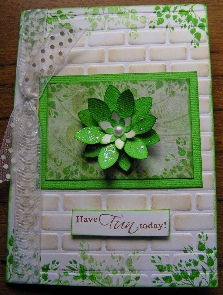 Leafy Flower card using a Brick stencil