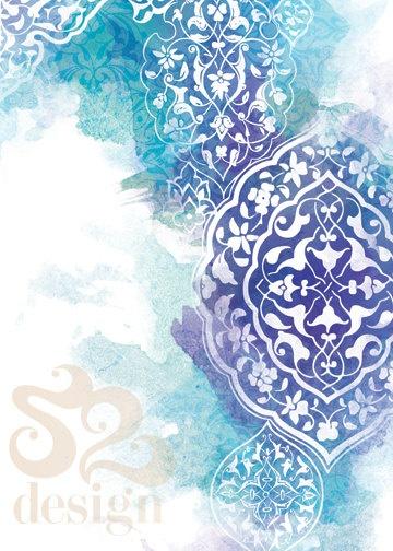 Blue and white arabic print