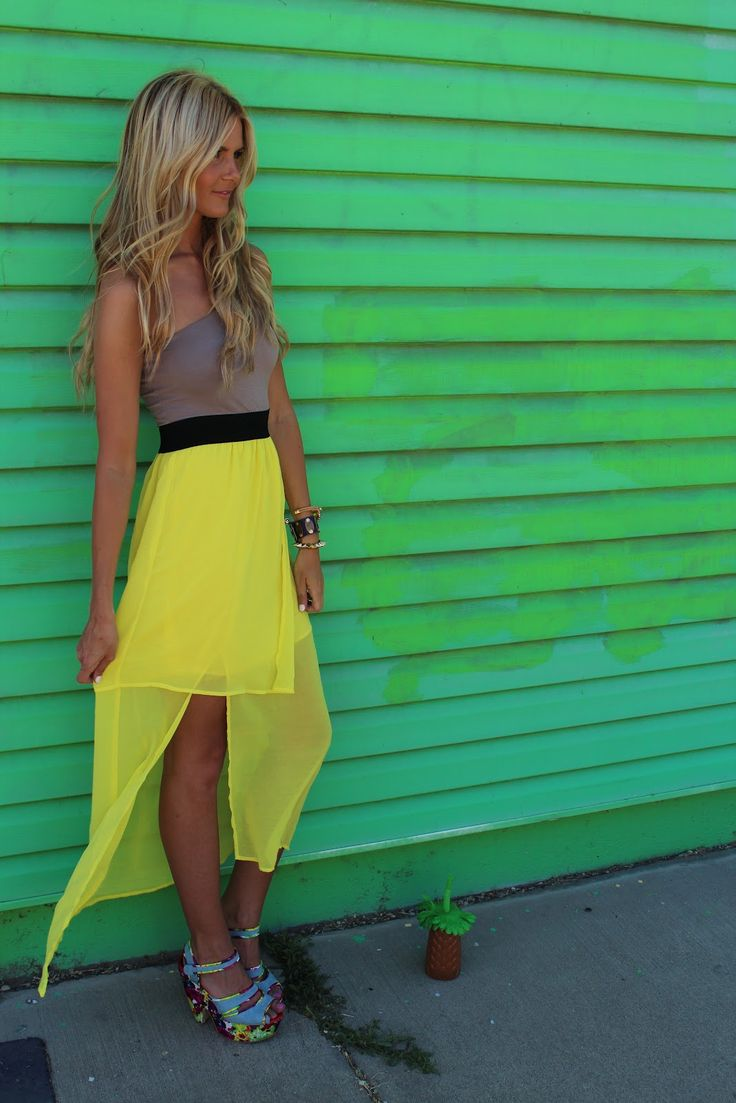 : Fashion, High Low Skirts, Color Combos, Style, Outfit, Yellow Skirts, The Dresses, Hair, Neon Yellow